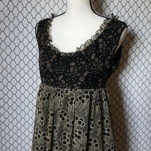 Anna Sui for Anthropologie Silk Babydoll Dress